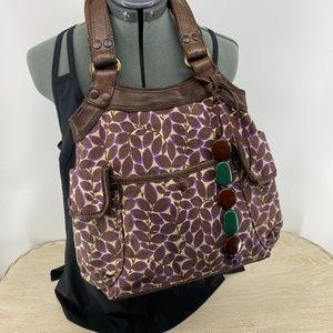 Luck Brand BoHo Chic Shoulder Bag Canvas Leather